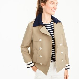 JCrew Trench with Navy Collar and Striped Cuffs